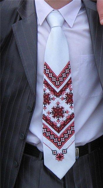 Вышивка галстука крестом
