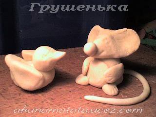 Птичка и мышонок из солёного теста